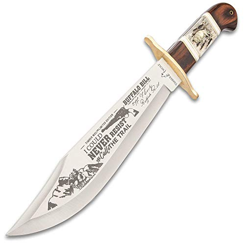 Timber Wolf Buffalo Bill Bowie Knife And Sheath - Stainless Steel Blade, Bone And Wood Handle Scales, Brass Handguard - Length 15 1/2""