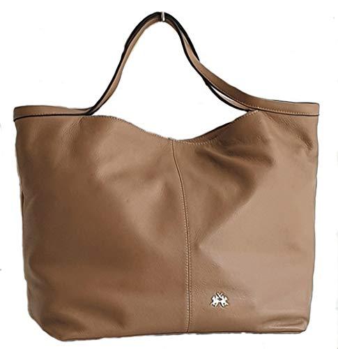 La Martina Bolso mujer Shopper de hombro de suave piel con correa 41W481 Beige Size: Large