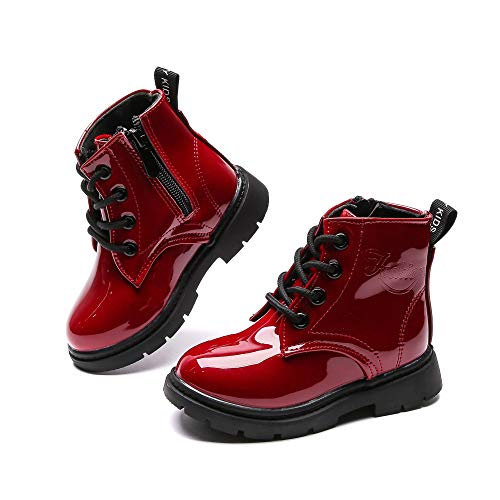 Komfyea Boy's Girl's Boots Waterpoor Bright Color Ankle Side Zipper Boots (Toddler/Little Kid) Cherry Red