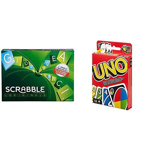 Mattel Scrabble, il Gioco da Tavola delle Parole Crociate, Divertimento per Tutta la Famiglia, per Bambini da 7 + Anni, Y9596 &UNO Gioco di Carte, W2087