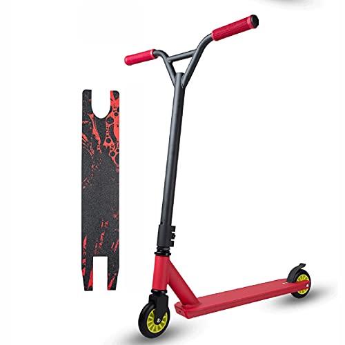 STUNT SCUN STUNT SCUNT SCOOTER KICK SCOOTER, scooter de patadas, scooter de truco con 6061 plataforma de aluminio y rodamientos para niños y principiantes adultos de 8 años ( Color : Red )