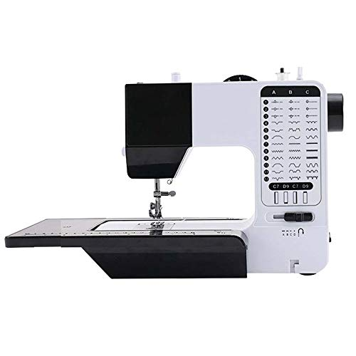 ChenYongPing Máquina de Coser eléctrica portátil, Doble Aguja máquina de Coser for Hogar Multifuncional Miniatura eléctrico Máquina de Coser (Color : Black and White, Size : One Size)