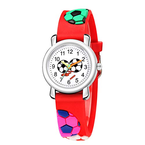 MZRI Children's Football Element Quartz Watch Colorful Camouflage Watchband Wrist Watch Christmas Birthday'S Gift for Kids (Red)