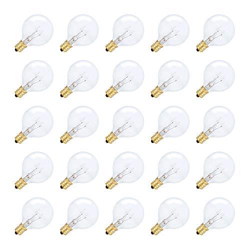 Simba Lighting String Light Outdoor Globe G40 Replacement Bulb 5W E12 Candelabra Base C7 Socket for Patio, Café, Pergola, Porch, Clear Glass, 5 Watt 110V 120V, 2700K Warm White, Dimmable, 25 Pack