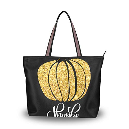 para madres, mujeres, niñas, señoras, estudiantes, bolsos, bolso de mano, ligero, correa, bolso de compras, bolsos de hombro, acción de gracias, otoño, calabaza dorada