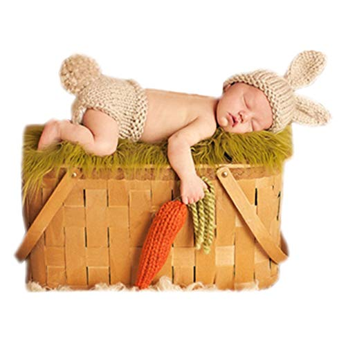 Easter Newborn Photography Props Boy Girl Baby Photo Shoot Outfits Lovely Rabbit Cartoon Crochet Baby Photo Props Beige