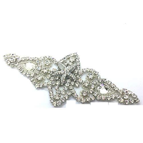 ACloudBridal Starfish Rhinestone Crystal Iron Sew On Wedding Sash Dress Applique