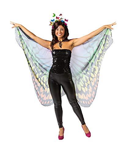 narrenkiste Capa multicolor O1054-50 con diseo de mariposa, talla nica