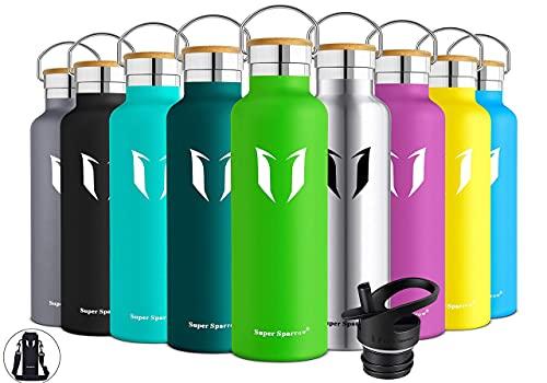 Super Sparrow Trinkflasche Edelstahl Wasserflasche - 750ml - Isolier Flasche mit Perfekte Thermosflasche für Das Laufen, Fitness, Yoga, Im Freien und Camping   Frei von BPA (Apfelgrün)