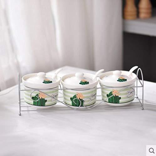 Set Di Barattoli Per Condimento Zuccheriera In Ceramica Casa Cucina Cactus Foglie Vasetti Per Condimenti Al Sale Con Cucchiai