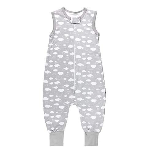TupTam Unisex Babyschlafsack mit Beinen Unwattiert, Farbe: Wolken Grau, Größe: 80-86