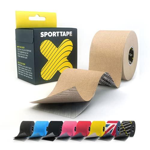 Extra klebriges Kinesiologie Tape - 5 cm x 5 m - BEIGE - Hypoallergenes, Wasserdicht elastisch K-Band Kinesiotape Physio, medizinisches klebebänder für Muskelverletzungen, Unterstützung durch SPORTTAPE