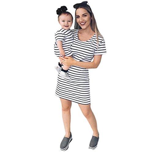 MCYs Mom & Me Baby Mutter Tochter Kinder Mädchen Kleid Striped Familienkleid Strand Sommerkleid Kleidung Minikleid Casual Partykleid (M, Mama)