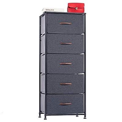 WAYTRIM Vertical Dresser Storage Tower with 5 Drawers, Fabric Organizer Dresser Tower for Bedroom, Hallway, Entryway, Closets - Dark Indigo