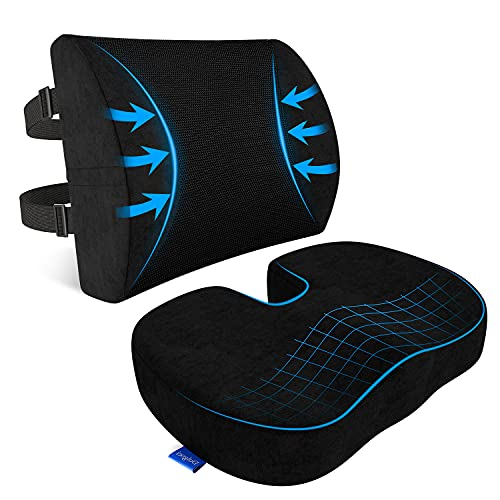 Seat Cushion, Seat Cushion for Office Chair, Lumbar Support Pillow for Office Desk Chair, Car, Wheelchair Memory Foam Chair Cushion for Sciatica, Coccyx Back with Covers Protects