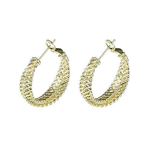 Yumay 9ct Gold Twisted Flat Chain Style Creole Hoop Earrings for Women.
