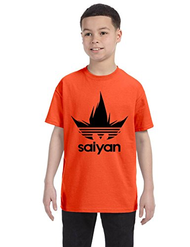 ALLNTRENDS Kids Youth T Shirt Saiyan Dragon Trendy Tshirt Cool Popular Gift (M, Orange)
