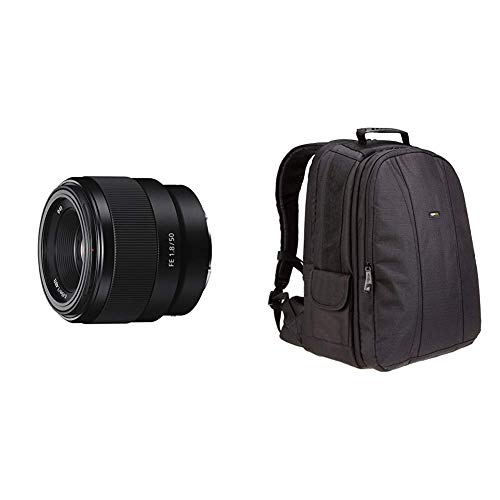 Sony SEL-50F18F Standard Objektiv (Festbrennweite, 50 mm, F1.8, Vollformat, geeignet , E-Mount) schwarz & Amazon Basics Rucksack für DSLR-Kamera und Laptop (oranges Interieur)
