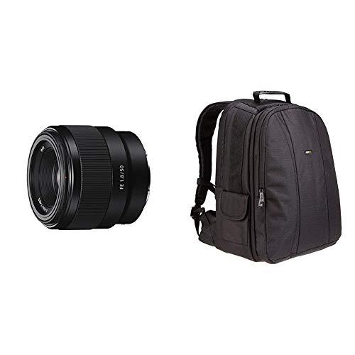 Sony SEL-50F18F Standard Objektiv (Festbrennweite, 50 mm, F1.8, Vollformat, geeignet , E-Mount) schwarz & Amazon Basics Rucksack für DSLR-Kamera und...
