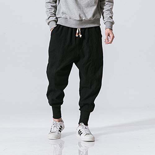 YJDMJJ Herren Cargo Jogginghose Streetwear Herren Haremshose Japanischer Stil Lässige Leinenhose Man Joggerhose Chinesische Baggy Pants Plus Size 5XL Joggerhose