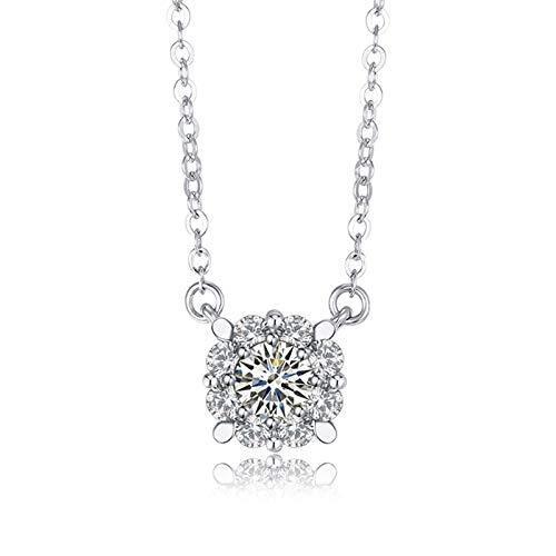 Dreamdge 18K White Gold Necklace Round Chain Necklace Women, 0.32ct White Diamond Pendant Necklace