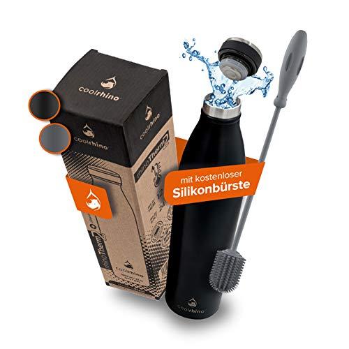 coolrhino Edelstahl-Trinkflasche 500ml, 1L – Kohlensäure geeignete Sportflasche inkl. Reinigungsbürste – BPA frei, Auslaufsicher -Thermosflasche & Teeflasche für Uni, Schule, Fitness, Outdoor, Camping