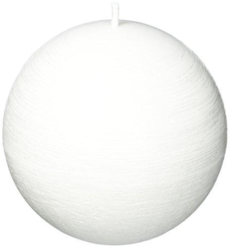 Amabiente–Candela di Design 9101Melo_12, Candela aSfera di Cera vegetale, Bianca, 12x 12x 12cm