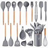 Silicone Kitchen Utensils Set, GO-LILI Cooking Utensil Set 22 Pcs, Premium Baking Tools,Non-Stick Heat Resistant Cookware with Holders, Cooking Turners Spatula, Home Server (Grey/Wood)