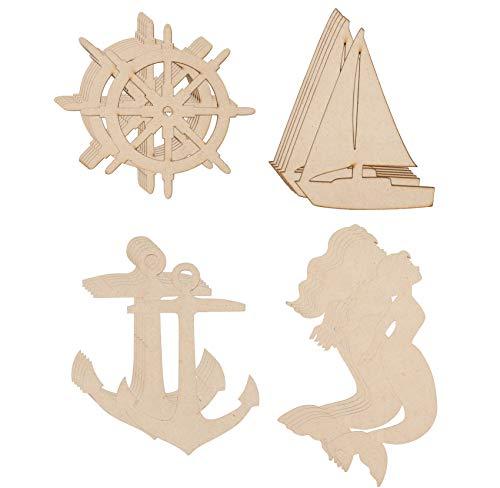 Wood Cutouts for Crafts, Ship Wheel, Sailboat, Mermaid and Anchor (24 Piece)