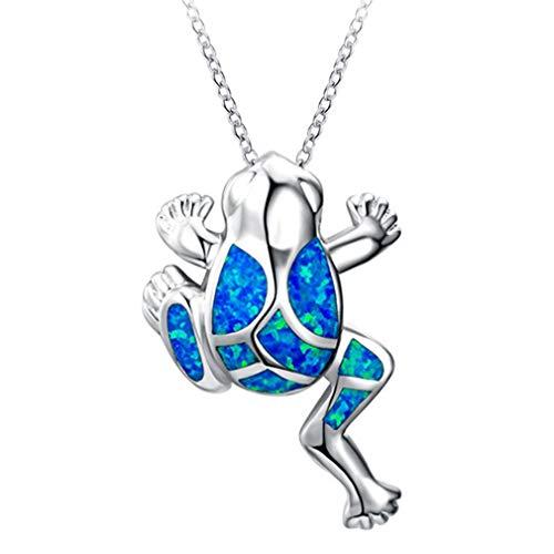 Pinhan - Gargantilla con colgante de rana para mujer, diseño de ópalo artificial, Aleación, azul, As show