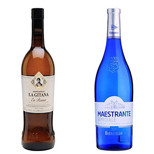 Manzanilla La Gitana en Rama y Barbadillo Maestrante - D. O. Manzanilla de Sanlúcar de Barrameda y Vino Blanco Semidulce - 2 botellas de 750 ml