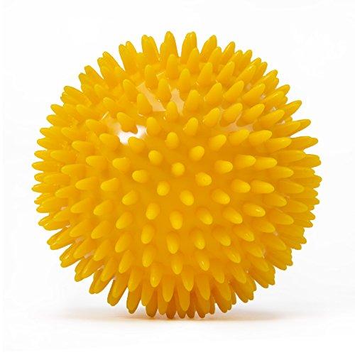 Großer Noppenball, Igelball mit 10 cm Durchmesser (safran-gelb) Massageball für Selbstmassage, Reha & Fitness, Reflexzonen - auch als Set verfügbar