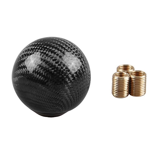 RYANSTAR Carbon Fiber Shift Knob Gear Shifter Knobs with 3 Adapters Round Ball Stick Shifter Level Black