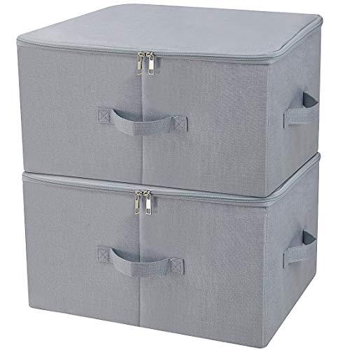 Armario a prueba de polvo Cajas de almacenamiento de ropa con tapa con cremallera, tejido transpirable y diseño colágeno para la organización de prendas de temporada, gris claro, 2 piezas