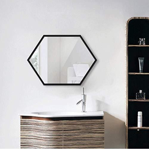 AOIWE Espejo Redondo Marco de Metal Espejo de vanidad Dorado 60 cm Pared Espejo Espejo Dormitorio baño Sala de Estar Entrada Gran hexágono Metal Espejo de Pared Espejo de baño 60x80cm Oro Negro