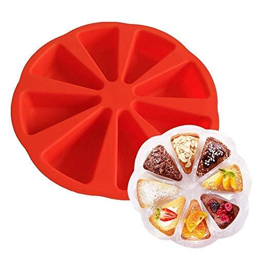 ZHENGCHENG Molde Silicona Molde de Pastel de Silicona 3D Utensilios para Hornear Redondos Platos para Hornear 8 Porción de Pastel de cavidad Pizza Pan Bandeja Dividida