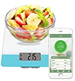 Easy@Home Balanza Digital de Comida para la Cocina Aplicación Calculadora Nutricional– Peso, Calorías, Grasas, Colesterol, Carbohidratos - Función de Diario de Nutrientes Dietéticos