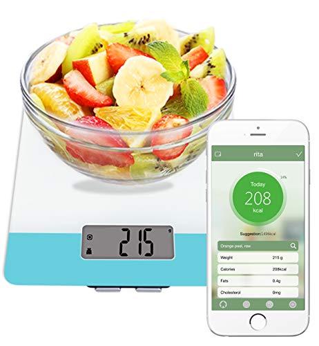 Easy@Home Digitale Küchenwaage mit intelligentem Ernährungsrechner APP, Professioneller Ernährungsrechner - Gewicht, Kalorien, Fett, Cholesterin, Kohlenhydrate - Diät Nährwert-Tagebuch Feature