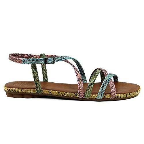 PORRONET - Sandalia Plana con Tiras Serpiente Cuero para Mujer Color: Colores Talla: 39