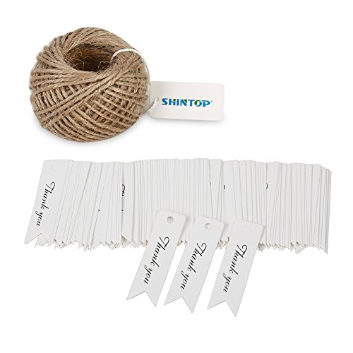 Shintop Thank You Tags - 100PCS Kraft Paper Gift Tags Bonbonniere Favor Wedding Hang Tags with Free 100 Feet Natural Jute Twine (White)