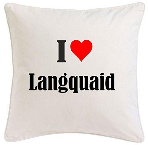 Kissenbezug I Love Langquaid 40cmx40cm aus Mikrofaser geschmackvolle Dekoration für jedes Wohnzimmer oder Schlafzimmer in Weiß mit Reißverschluss