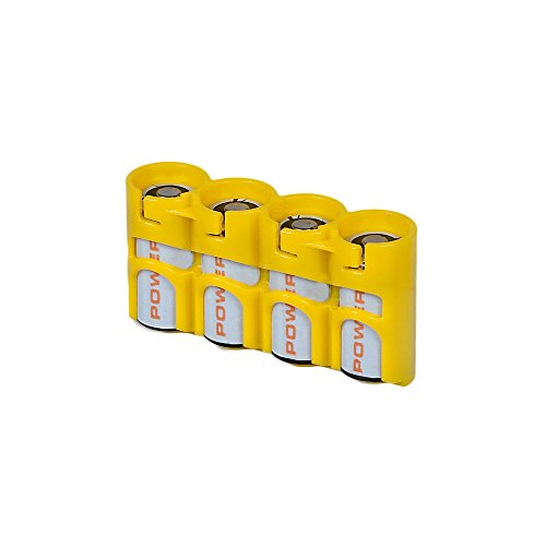 Storacell SLCR123CY by Powerpax SlimLine CR123 Battery Caddy, Yellow, Holds 4 Batteries