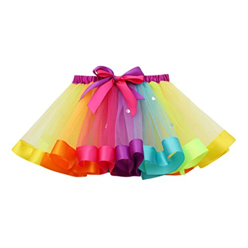 HUIHUI Kleid Mädchen, Toddler Mädchen Tutu Tüll Tanz Ballett Regenbogen Rock Sommerkleid Party Prinzessin Dress Casual T-Shirt Kleid Frühlings Herbst Cocktailkleid (Multicolor, L)