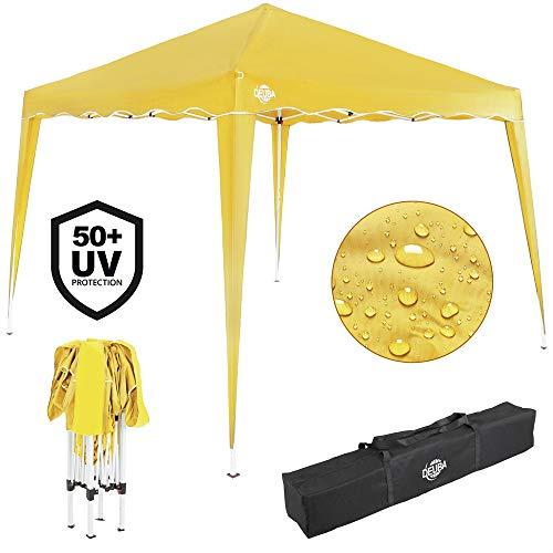 Deuba® Pavillon Capri 3x3m wasserdicht Pop-Up inkl. Tasche UV-Schutz 50+ Faltpavillon Gartenzelt Partyzelt Gelb