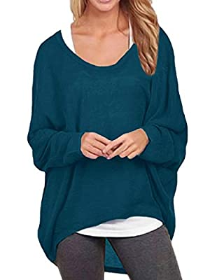 ZANZEA Women's Batwing Sleeve Off Shoulder Loose Oversized Baggy Tops Sweater Pullover Casual Blouse T-Shirt Cyan US 10/Tag Size L