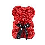ラブローズクマ人工花ローズクマ人形バレンタインデークリスマスギフト結婚式の装飾リボン弓永遠の花人形ロマンチックな誕生日-赤-、