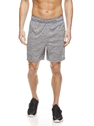 Reebok Men's Drawstring Shorts - Athletic Running & Workout Short w/Pockets - Charcoal Heather Cruz 2.0, Small