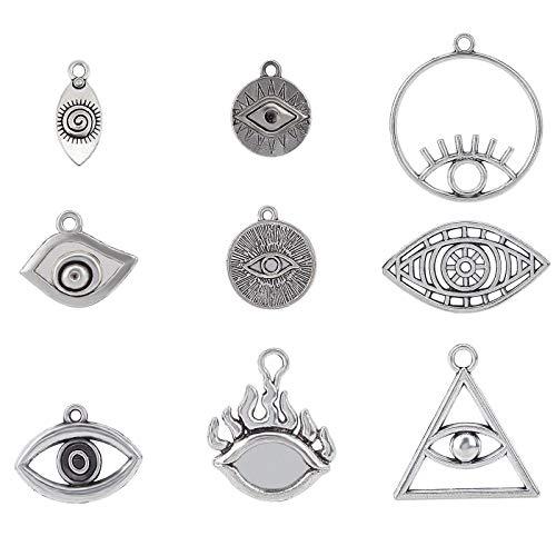 YuuHeeER 9 estilos de muchos ojos de Horus encantos colgantes tibetano aleación de plata para collar 36 piezas joyería DIY