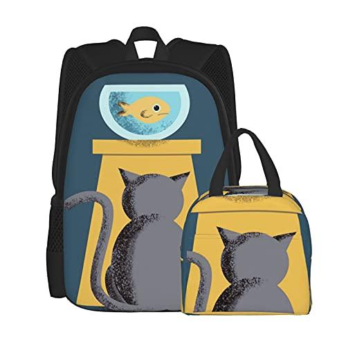Bolsa escolar para gatos+bolsa de almuerzo 2 piezas, mochila para portátil y bolsa de cosméticos y mochila escolar combinación para niñas y niños
