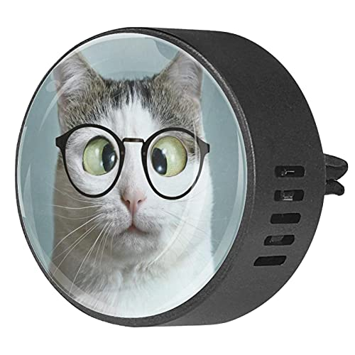 2 paquetes de difusor de coche con ambientadores de clip,Gafas de gato ,Aceite esencial de aromaterapia portátil para dormitorio